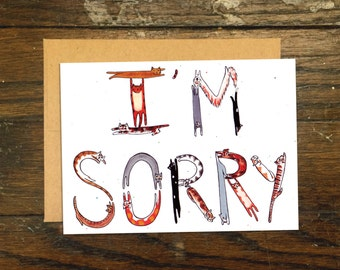 I'm Sorry Cat Lettered Greeting Card