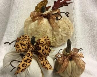 Fabric pumpkins, set of 3