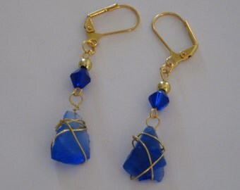 Sapphire Blue Sea Glass and Crystal Drop Earrings