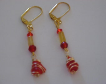 Red and Gold Sea Glass and Fluorite Drop Earrings