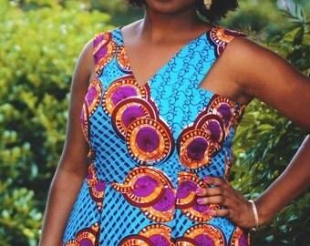 Handmade African Wax Print Sleeveless Pleated Summer Dress