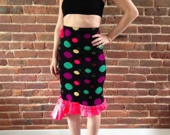 Unique and fun highwaisted, polka-dot, asymmetrical pencil skirt
