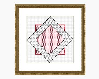 Cross Stitch Pattern, Modern Cross Stitch - GEOMETRIC SQUARES cross stitch pattern - Instant Download PDF