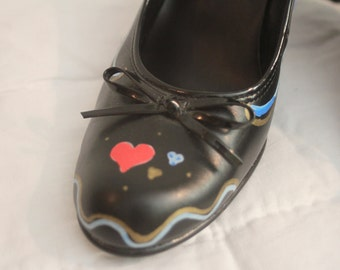 Hand painted, swirls and hearts, black heels