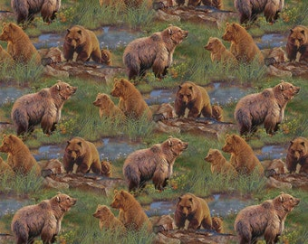 Jagger Rock Grizzly Bears Fabric
