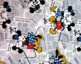 1 Yard Disney Mickey Mouse Minnie Mouse Newspaper Fabric Remnant/Bolt end 1014