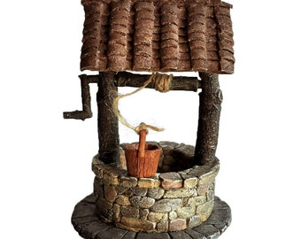 "5.25"" Fairy Wishing Well w/ Turning Crank Garden Terrarium Miniature Dollhouse"