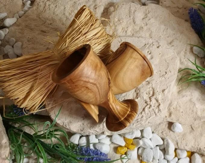 2 egg Cup set olive wood unique wood set hand work