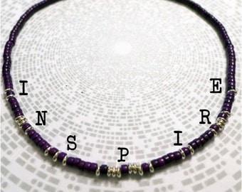 Inspire Morse Code Necklace / Purple / Personalised / Customised / Bespoke / Secret / Hidden Message / Semiprecious / Gemstone / Magnesite