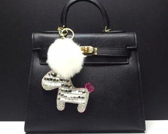 White Swarovski Bling Little Dog Bag Charms attach White fur ball pom pom, Shine Bling Charms, Furry Keychain Tote Purse Charms key chain