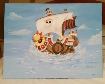 One Piece Thousand Sunny Acrylic Painting