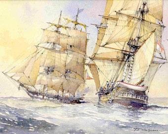 Maritime 19th Century Three Masted Frigates US Royal Naval Battle Nautical Home Office Decor Sea-Faring Vessel Unique Birthday Home Art Gift