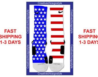 Custom Nike Elite Socks American Flag Red White And Blue