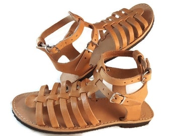 Ancient Greek Gladiator Sandals - Strappy Sandals, Flat Leather Sandals Handmade in Greece.
