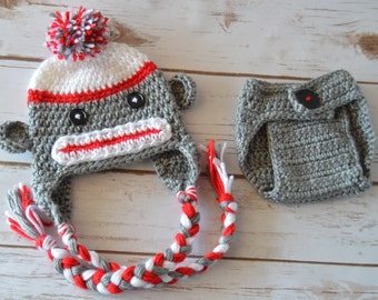 crochet baby sock monkey set, crochet baby hat and diaper cover, crochet baby monkey hat, crochet diaper cover