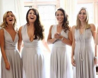 Grey Silver Bridesmaid Dress, One Dress Endless Styles Long Short INFINITY Bridesmaids Dress,  CONVERTIBLE Bridesmaids Dress, Grey Ombre eff