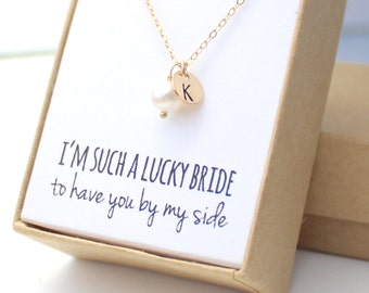 Bridesmaid Necklace Pearl - Pearl Gold Charm - Pearl Bridesmaid Necklace - Pearl Necklace with letter - Personalized - (Big Pearl Charm)