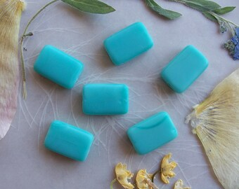 Czech Pressed Glass Matte Rectangle Beads ~ Opaque Turquoise Blue ~ 10x15mm ~ 6 Pieces