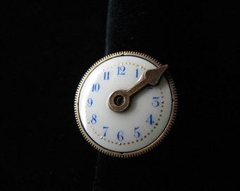 Ring STEAMPUNK, steampunk ring ' dial / needle ' watch Vintage gear Jules Verne (turn)