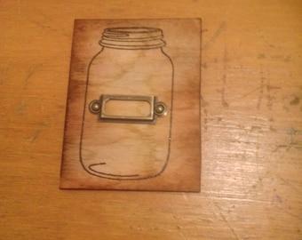 Real Wood Mason Jar Magnet