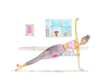 Yoga Art Print Gym Pilates Fitness Watercolor Illustration