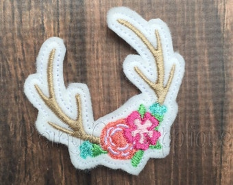 ITH Antler Feltie Design. Flower Antler Design, Country Girl Feltie, Bohemian Feltie, Hunting Clippie, Hunting Feltie, Deer Design