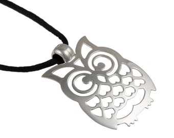 Silver Pendant with Cord - Owl