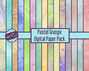 Pastel Grunge Digital Paper Pack - Printable Paper - Scrapbook Paper - Instant Download