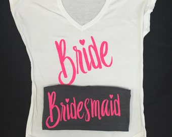 Bride and Bridal Party Set of 6 Custom Shirts, Bride Shirt, Bridal Party Shirt, Bridal Party, Bachelorette Party Shirts, Bridal Party Tops