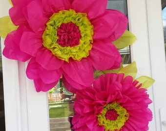 2x Xtra Large 60cm & 45cm Hot Pink Tissue Paper Flowers(pom-pom) Party Decoration