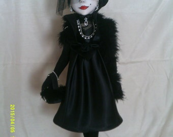 Marie-Christine the widow an original OOAK art doll.Paperclay head,painted in acrylics,cloth body.