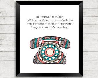 ON SALE Quote Art, Spiritual Quote Art, Telephone, Scripture Art, Zentangle