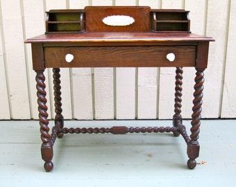 Antique wood craftsman desk, woodworking, artistic desk, rich wood desk, antique secretary desk, unique detail furniture, twisted leg desk
