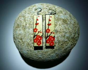Japanese washi paper earrings(rectangle shape with gold/red flower)
