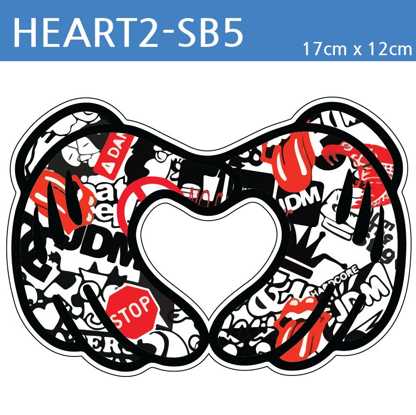 Heart Sticker Bomb Car Decal FULL COLOR JDM Skateboard