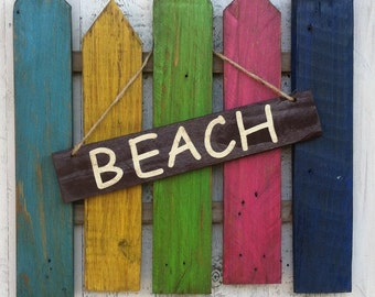 Rustic Beach & Welcome Sign Hanging On A Picket Fence (2 for 1 sign)