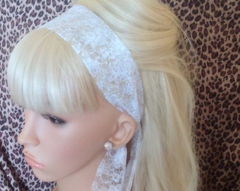 White Lace Head Scarf Hair Band Self Tie Bow 50s Rockabilly Gothic Hair wrap head band