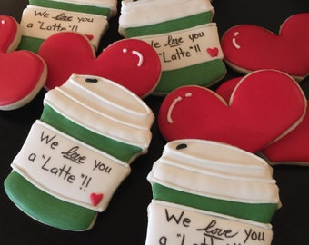 2 dozen Latte coffee love thank you miss you cookies