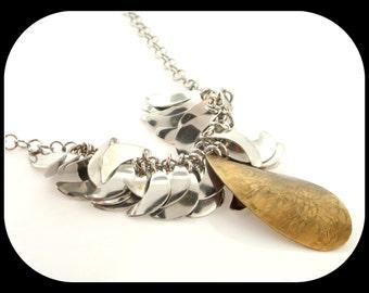 Modern design 2-tone  .925 sterling silver half moon drop dangle NECKLACE