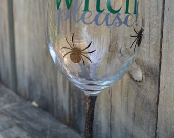 Halloween Wine Glass, Glitter Wine Glass, Halloween Party Glass, Witches Brew, Decorated Wine Glass, Halloween Part Favors, Girl's Night Out
