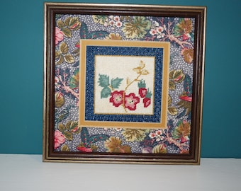 Framed Floral Cross Stitch Picture