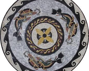 Beautiful Round Medallion Wave Border Home Decor Marble Mosaic MD373