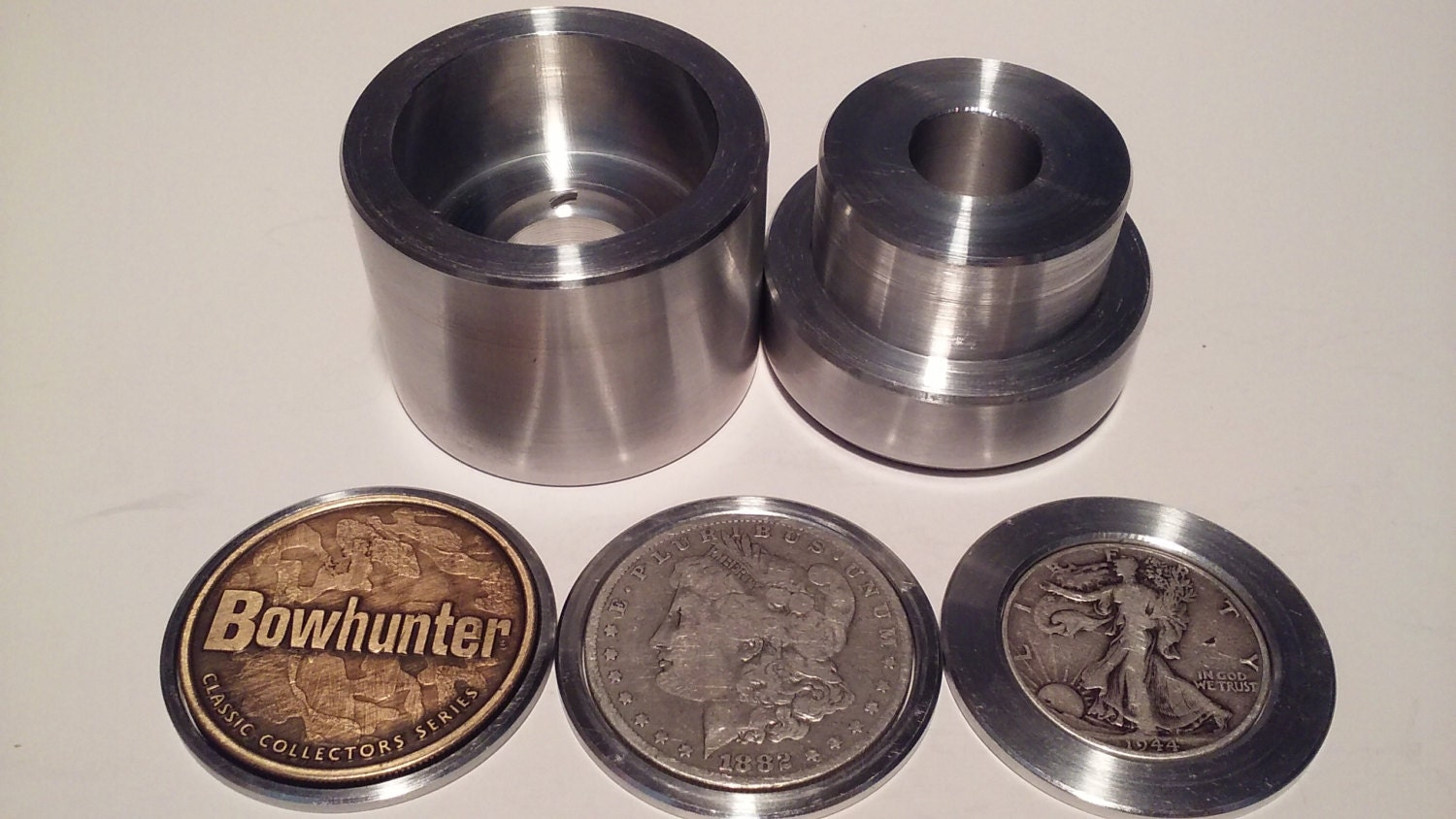 coin ring center punch kit for rounds morgan dollar and half dollar comes with. Black Bedroom Furniture Sets. Home Design Ideas