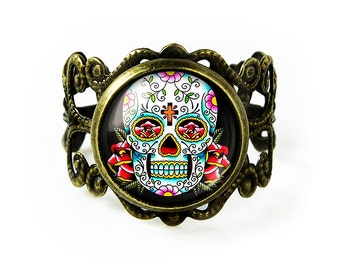 Antique Bronze Traditional Day of the Dead Sugar Skull Adjustable Filigree Ring 55-BFRR