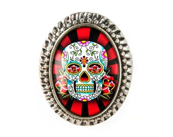 Antique Silver Traditional Day of the Dead Sugar Skull Adjustable Ring 61-SOR
