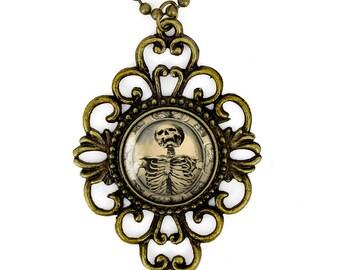 Antique Bronze Gothic Victorian Memento Mori Skeleton Glass Filigree Pendant Necklace 131-BFN