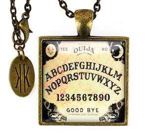 Antique Bronze Traditional Ouija Board Glass Pendant Necklace 47-BSPN