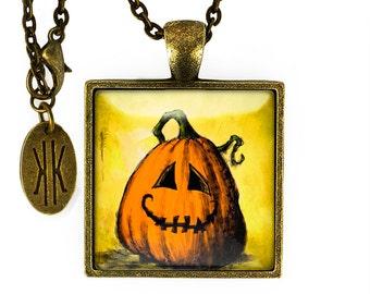 Antique Bronze Halloween Jack o' Lantern Pendant Necklace 117-BSPN