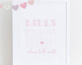 Personalised Baby Girl Calendar Print