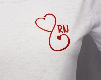 RN heart sethoscope 3/4 sleeve white burnout